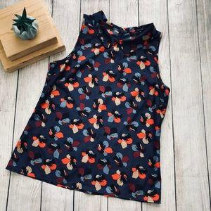 Ann Taylor sleeveless floral print Blouse Sz M